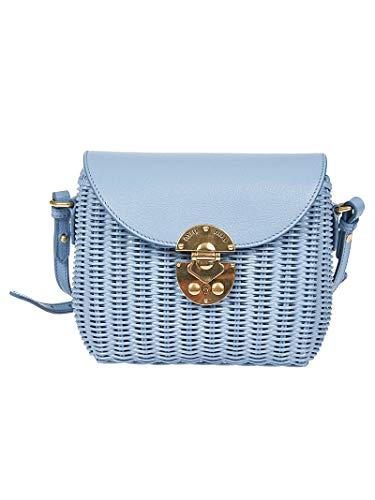 Miu Miu Luxury Fashion Damen 5BH1712D6FF0637 Hellblau Grobes Leinen Schultertasche | Frühling Sommer 20
