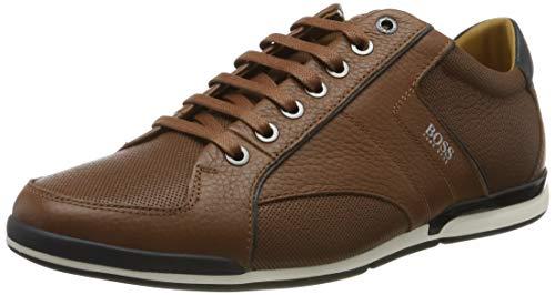 BOSS Herren Saturn Lowp Lowtop Sneakers aus genarbtem Leder mit Perforierungen Größe 42
