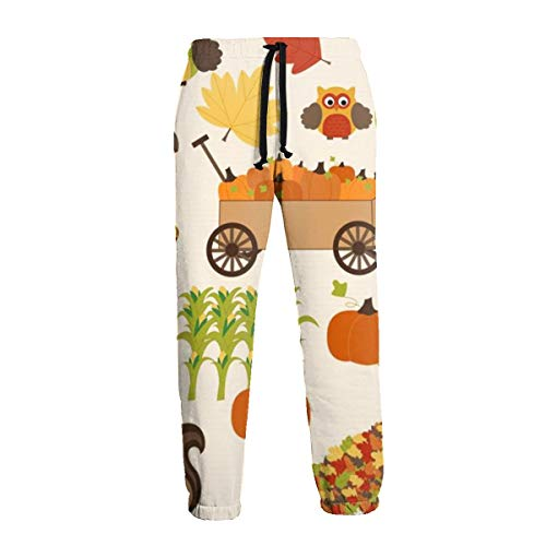 Ye Hua Cute Owl Autumn Harvest Herren Active Basic Fleecehose - Big & Tall Sizes XXXL