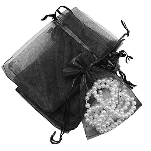 Nicoone 100 bolsas de regalo de organza con cordón, bolsa de dulces para joyas, bolsas de lápiz labial transparentes para bodas, baby shower, regalos, manualidades