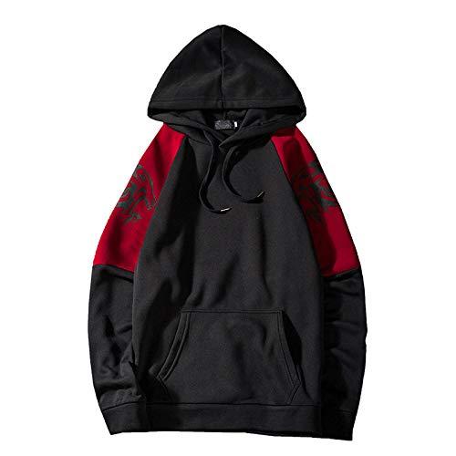 Herren Hoodie Pullover Kordelzug Kapuzenpullover Casual Pullover Loose Fit Kangaroo Pocket Casual Sweatshirt L