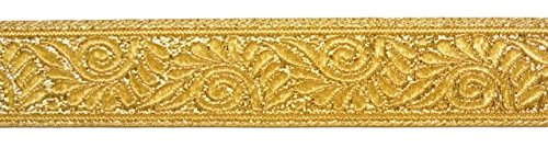 10m Brokat Borte Webband 22mm breit Farbe: Lurex-Gold U-09-22mm-go