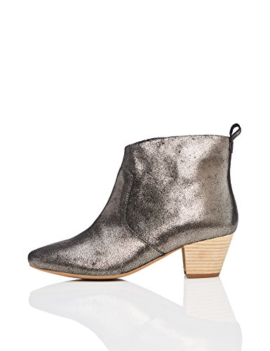 find. Damen Western Stiefeletten aus Leder, Grau (Dusted Metallic Dusted Metallic), 38 EU