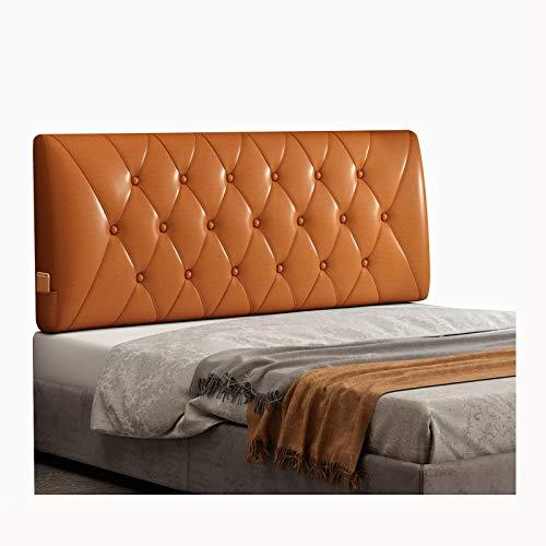 WENZHE Cabecero Cama Cojines Tapizado Cojín Lectura Almohadas, PU Suave Espalda Lleno Botones Diseño, Usado para Hotel Dormitorio, Tamaño Personalizado (Color : Orange, Size : 180x60x10cm)