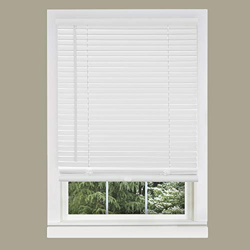 "Achim Home Furnishings Cordless GII Morningstar 1"" Light Filtering Mini Blind, Length 64inch Drop X Width 27inch, Pearl White"