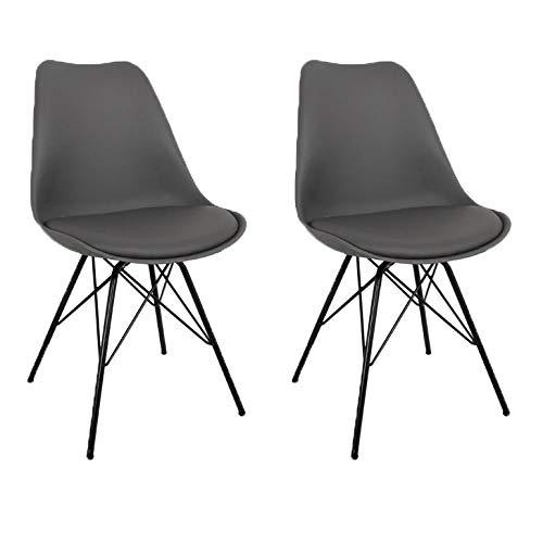 Nimara 2er Set Comfort Stuhl in skandinavischem Design | Esszimmerstühle und Küchenstühle | Stühle in Schwarz, Weiß, Grau und Mehreren Farben | Sitzkissen Stuhl | Retro Stuhl (Grau)