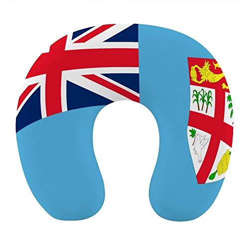 Bandera cómoda y Transpirable de Las Islas Fiji, Almohada para el Cuello Azul, Espuma viscoelástica Suave, Almohada de Viaje en Forma de U para avión, Oficina en casa, Coche