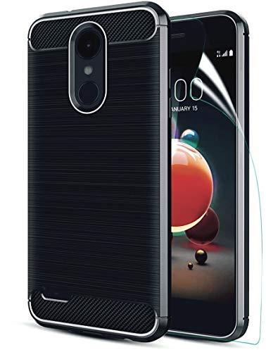 LG Aristo2 case/LG Tribute Dynasty/Aristo 3/Aristo 3+/Tribute Empire/K8S/Aristo 2 Plus/Fortune 2/Zone 4/k8/Risio 3/k8+ W HD Screen Protector Carbon Fiber Soft TPU Brushed Texture Rubber case, Black