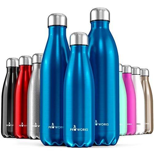 Proworks Bottiglia Acqua in Acciaio Inox, Senza BPA Vuoto Isolato Borraccia Termica in Metallo per Bevande Calde per 12 Ore & Fredde 24 Ore, Borraccia per Sport, Lavoro e Palestra - 350ml - Blu