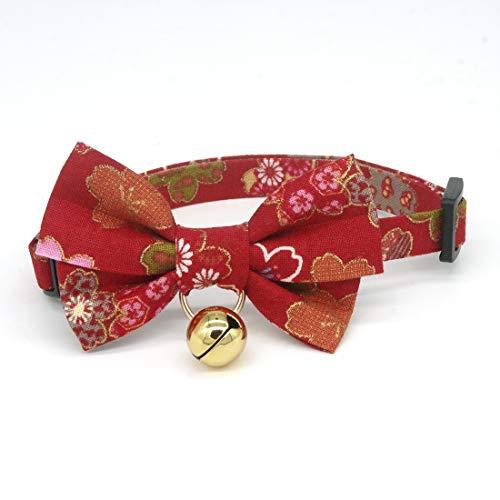 PetSoKoo Katzenhalsband mit doppelter Fliege und Glöckchen, bunter Sakura-Kimono-Stil, 100 % Baumwolle, Sicherheitsverschluss, leicht, weich