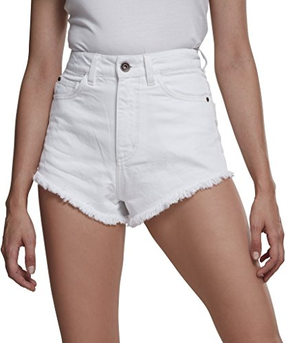 Urban Classics Damen Ladies Denim Hotpants Shorts, Weiß (White 00220), 36 (Herstellergröße: 27)