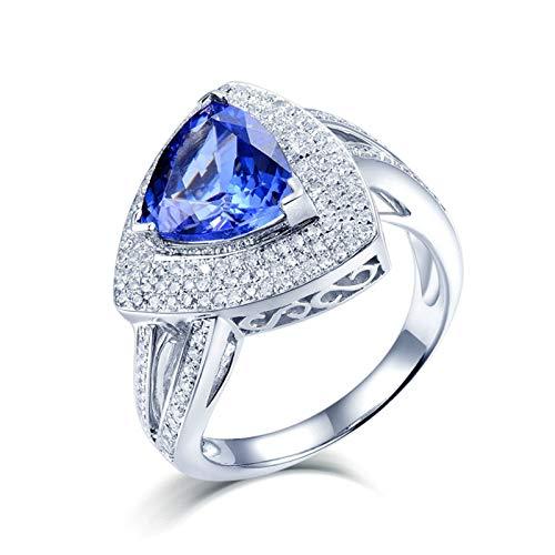 ANAZOZ Anillo Tanzanita Mujer,Anillos Compromiso Oro Blanco 18 Kilates Mujer Plata Azul Triángulo Tanzanita Azul 3ct Diamante 0.55ct Talla 25