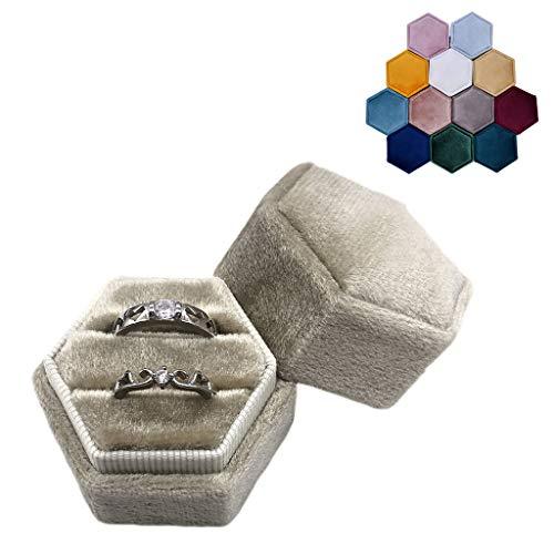 Yushu Caja de anillo doble de terciopelo hexagonal para ceremonia de boda con tapa desmontable, organizador de joyas, anillo de compromiso para pendientes y collar