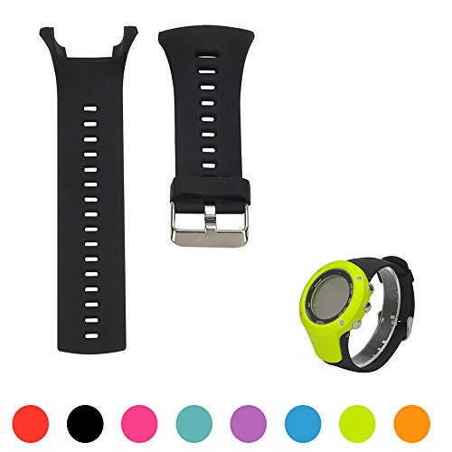 iFeeker - Bracelet de montre réglable en silicone souple - Bracelet de rechange pour montres connectées Suunto Ambit 1/Ambit 2/Ambit 3, Noir