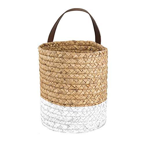 YHNJI Paquete de 2 cestas para colgar en la pared de 15,4 x 17,4 cm, pequeñas cestas de almacenamiento tejidas con asas de cuero, cesta de pared para decoración de plantas, cocina, oficina, dormitorio