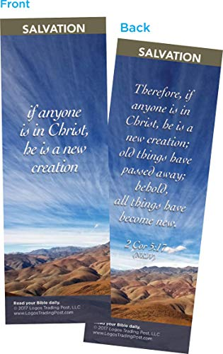 Christian Bookmark with Bible Verse, Pack of 25, Salvation Themed, If Anyone if in Christ, He is a New Creation, 2 Corinthians 5:17