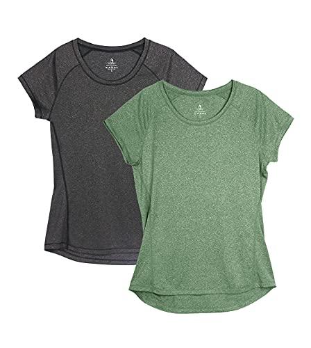 icyzone Damen Fitness Sport T-Shirt Kurzarm Laufshirt Gym Training Funktion Shirt, 2er-Pack (L, Schwarz/Grün)