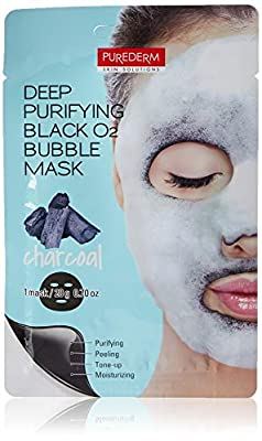 Purederm Deep Purifying Black O2 Bubble Mask Charcoal Facial Sheets with Detoxifying and Moisturizing Action
