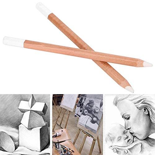 Crayon de Croquis, Crayons à Dessin, 2 pièces Crayon de Fusain Blanc Bois Professionnel Esquisse Stylo Papeterie Art Peinture Suppliess