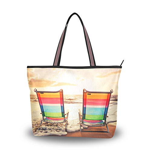 Eslifey Hawaii leuchtende Seerandschaft Damen Handtaschen Schultertaschen für Damen Mädchen Gr. 38, multi