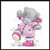 GHXCTKU クロスステッチキット ダイヤモンドの絵画 スダイヤモンドアート ラウンドビーズ クロスステッチ 刺繍 ペインティング クラフト ホームウォール クマ人形 30*40cm