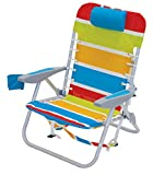 Rio Beach Lace-up Aluminum Backpack Chair, Turquoise/Yellow/Lime/Red Stripe