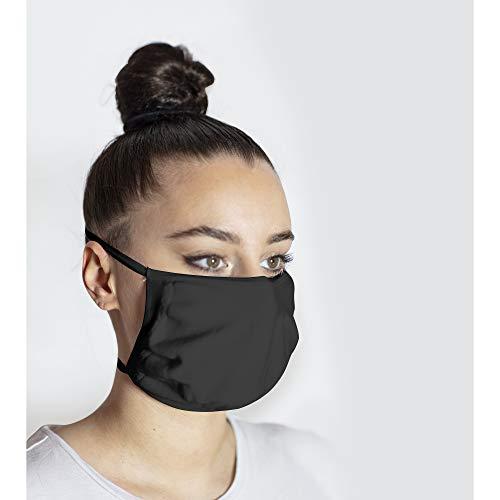 2 Pezzi Mascherina Deluxe filtrante Unisex, in doppio tessuto sagomato, doppio elastico, microfibra di polipropilene ed elastan, lavabile e traspirante (Nero, Taglia Unica)