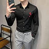 Camisa de Cuadros Quality Simple Rose Embroidery Long Sleeve Tuxedo Shirts for Men Clothing Spring New Slim Fit Casual Club Dress 3XL-M Asian3XL72-77K