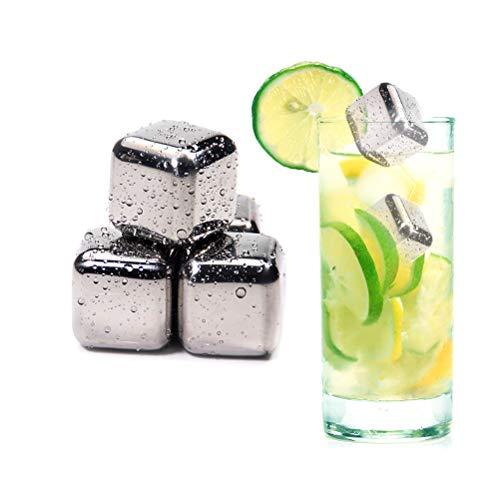 HELEVIA RVS Whisky Stones IJsblokjes Herbruikbaar 8 Stks Chilling Frozen Rocks voor Whiskey Wijndrank Sap of Soda met Tang