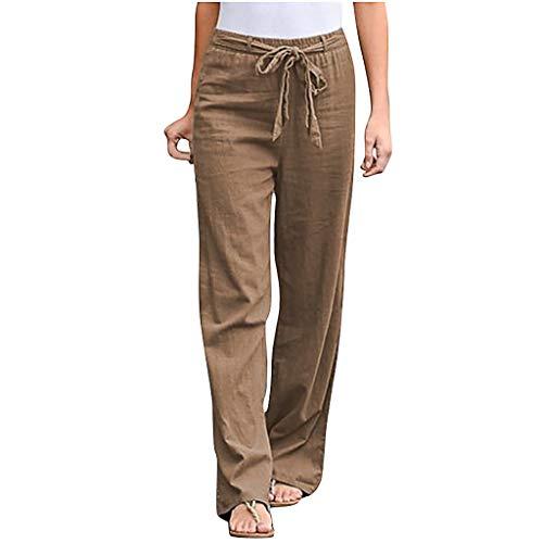 HFStorry Damen Hosen Activewear Training Jogginghose Yoga Hose Fitness Hose Mode Frauen Feste Baumwolle Leinen Schärpen Gerade Lässige Lange Hosen Pants mit Taschen