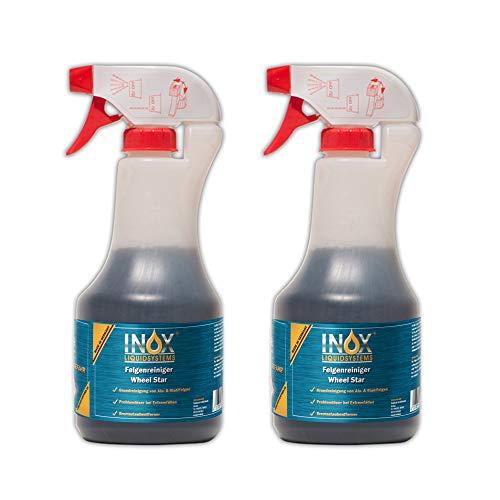 INOX® Felgenreiniger Konzentrat, 2 x 500ml - Reiniger für Alufelgen und Stahlfelgen entfernt Starke Verschmutzungen wie Flugrost und Bremsstaub