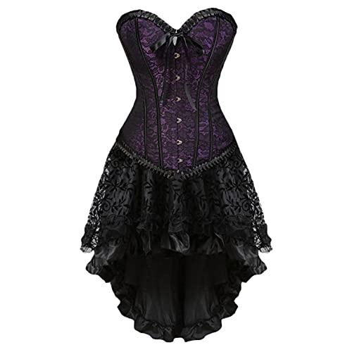 BIBOKAOKE Korsett Kleid Damen Steampunk Corsagenkleid Sexy Spitze Gothic Bustier Vintage Corsagentop mit asymmetrischer Spitzenrock Rockabilly...