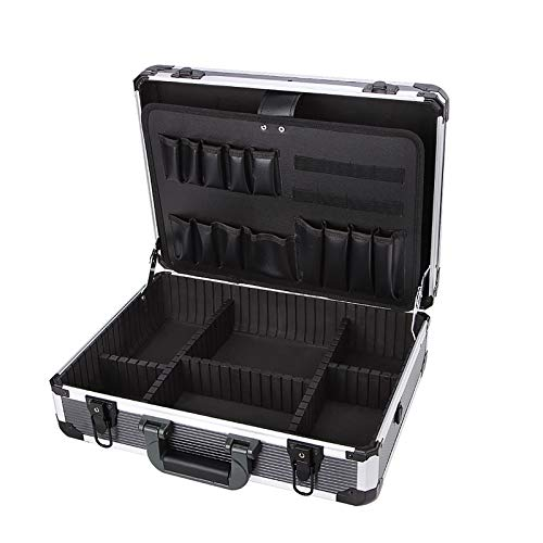 YANGQI Aluminum Hard Tool Box Case Portable Carrying Case Briefcase Flight Cases Tool Case Organizer Toolbox Storage Box, Inner Box Size 43x31x13mm, Black