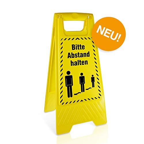 Betriebsausstattung24® Warnaufsteller Bitte Abstand halten! | Kunststoff | Gelb | Höhe 61 cm | zusammenklappbar