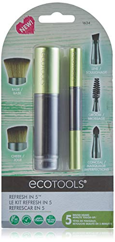 EcoTools Refresh Makeup Brush Set for Travel Touch-up, Set of 5 for Brows, Liner, Concealer, Powder, Blush and Bronzer