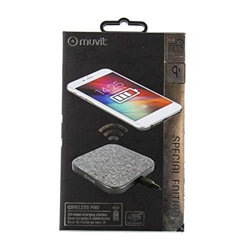 Muvit MUWIR0009 - Cargador sobremesa inalámbrico Qi de 2A (5W/7.5W/10W) Color Gris metálico