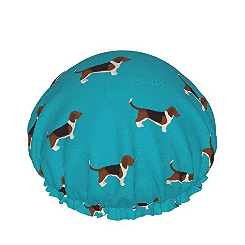 Gorro, con bandas elásticas ajustables, reutilizables para mujer, impermeable, ajustable, gorro de ducha, divertido pelo de baño para perros