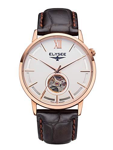 Elysee, 77012, unisex, volwassene analoog automatisch horloge met lederen armband