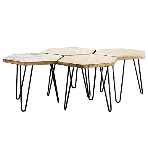 L'Héritier Du Temps Table Basse Hexagone Marque Hinsk Modulable Consoles d'Appoint Bout de Canapé 4 Pièces en Acier et Bois 45x75x127,5cm