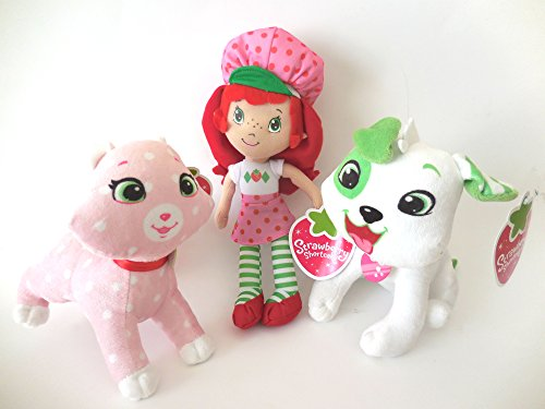 Strawberry Shortcake Classic Medium Plush Doll 10 Inches and Custard Cat ant Pupcake Dog 6 Inches