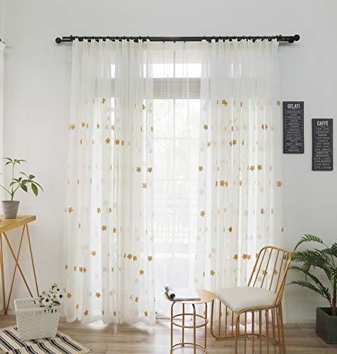Naturer Vorhang Transparent Weiß kräuselband 2er Set 140x225 Braun Blumen Muster Voile Gardinen Stickerei Wohnzimmer Modern Set
