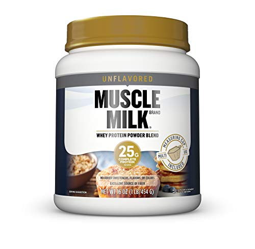 Muscle Milk 100% Whey Protein Powder Blend, Unflavored, 25g Protein, 1lb