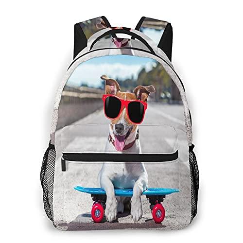 CVSANALA Multifunzionale Casuale Zaino,Jack Russell Terrier cane guida molto veloce con velocità uno skateboard come skater,Pacchetto a Doppia Spalla Borsa Sportiva da Viaggio Notebook per Computer