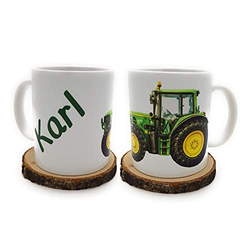Kinderlampenland Kilala Traktortasse personalisierbar, Namenstasse mit Traktor Fotodruck, Trecker Tasse inkl. Geschenkverpackung, Weiß
