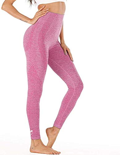 PEACHY PASSION Leggings deportivos para mujer, sin costuras, cintura alta, pantalones largos de deporte para fitness, yoga, gimnasio y correr. Rosa. M