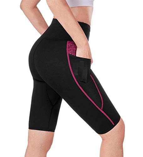TrainingGirl High Waist Sauna Sweat Shorts Weight Loss Workout Pants with Pocket for Women Running Gym Yoga Exercise (Black, XL)