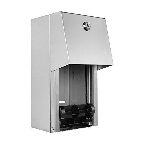 "Dual Rolls Toilet Paper Dispenser - Lockable Design - Heavy Duty Commercial Grade 304 Grade Stainless Steel - 6-3/4"" D x 6"" W x 12"" H"