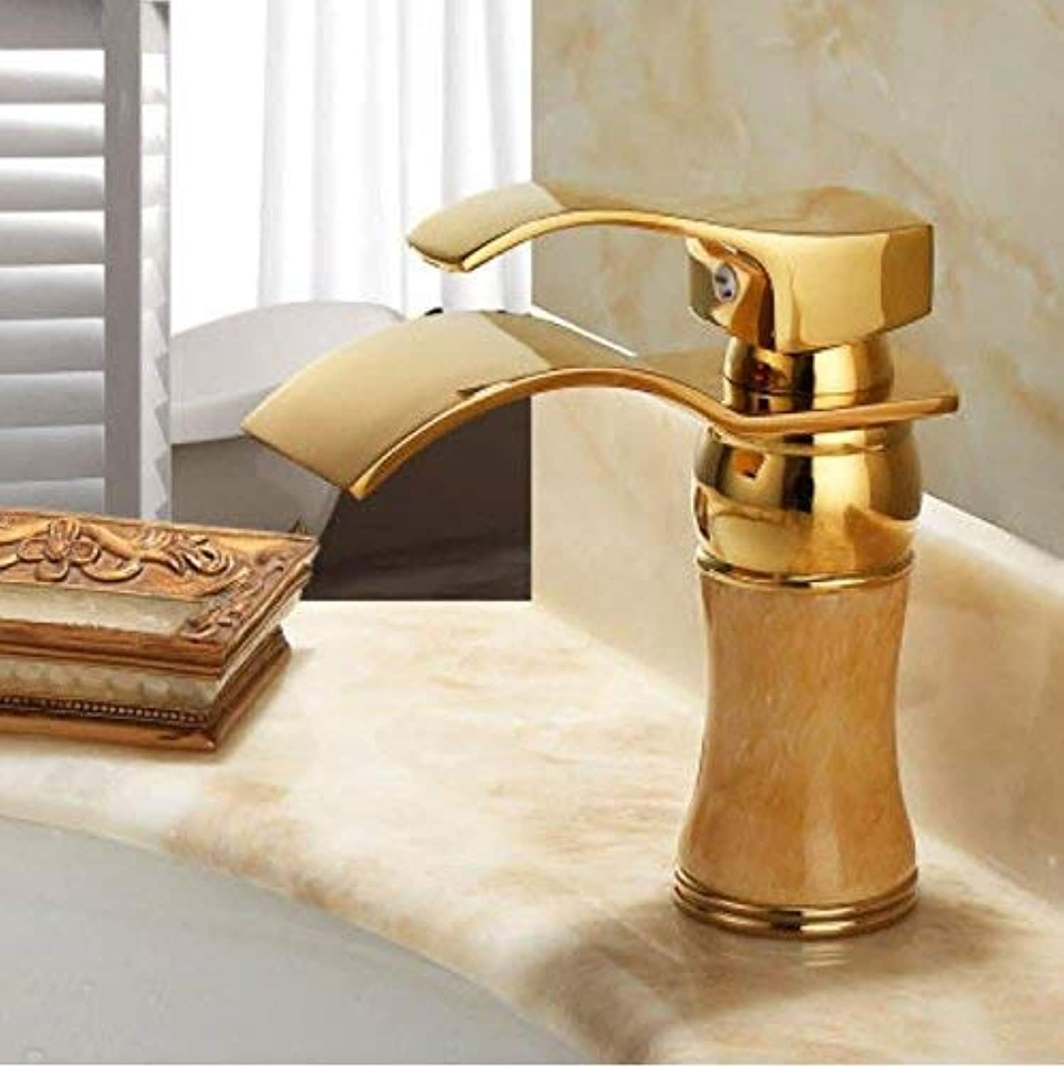 Oudan European Style Copper And Natural Jade Table, Basin, Hot And Cold gold Faucet, Waterfall Basin, Gilded Faucet,A (color   B, Size   -)