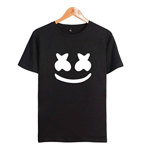 Pärchen Gesicht DJ T-Shirt Cool Elektrischer Ton Tee Rundhals Kurzarm Tops für Liebespaar Herrn Damen Jugendliche schwarzes L
