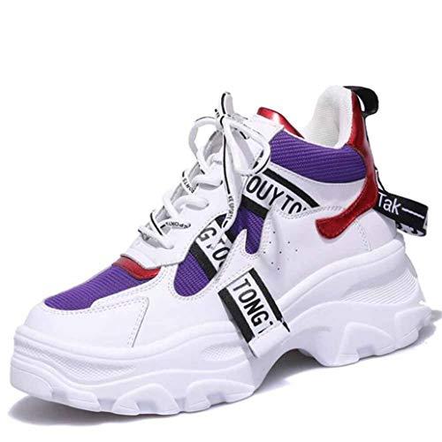Platform Dikke Sneakers Voor Dames Hoge Veterschoen Enkellaarzen Ronde Neus Running Basketbalschoenen Mode Ademende Sneakers Met Sleehak